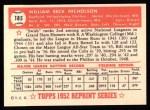 1952 Topps REPRINT #185  Bill Nicholson  Back Thumbnail