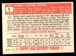 1952 Topps REPRINT #9  Robert Hogue  Back Thumbnail