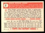 1952 Topps REPRINT #37  Duke Snider  Back Thumbnail