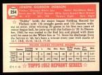 1952 Topps Reprints #254  Joe Dobson  Back Thumbnail