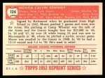 1952 Topps REPRINT #124  Monte Kennedy  Back Thumbnail