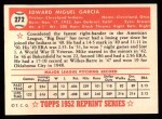 1952 Topps Reprints #272  Mike Garcia  Back Thumbnail
