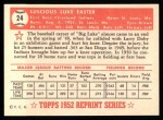 1952 Topps REPRINT #24  Luke Easter  Back Thumbnail