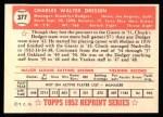 1952 Topps REPRINT #377  Chuck Dressen  Back Thumbnail