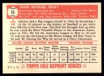 1952 Topps REPRINT #15  Johnny Pesky  Back Thumbnail