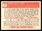 1952 Topps REPRINT #45  Eddie Joost  Back Thumbnail