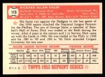 1952 Topps REPRINT #113  Dick Sisler  Back Thumbnail