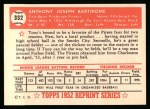 1952 Topps REPRINT #332  Tony Bartirome  Back Thumbnail