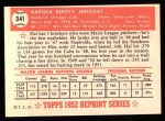 1952 Topps REPRINT #341  Hal Jeffcoat  Back Thumbnail