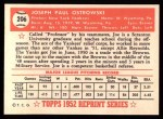 1952 Topps REPRINT #206  Joe Ostrowski  Back Thumbnail