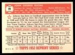 1952 Topps REPRINT #19  Johnny Bucha  Back Thumbnail