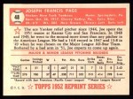 1952 Topps REPRINT #48  Joe Page  Back Thumbnail