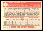 1952 Topps REPRINT #17  Jim Hegan  Back Thumbnail