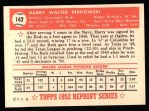 1952 Topps REPRINT #142  Harry Perkowski  Back Thumbnail