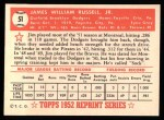 1952 Topps REPRINT #51  Jim Russell  Back Thumbnail