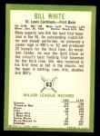 1963 Fleer #63  Bill White  Back Thumbnail
