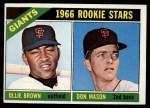 1966 Topps #524   -  Ollie Brown / Don Mason Giants Rookies Front Thumbnail