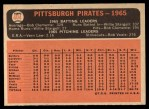 1966 Topps #404 DOT  Pirates Team Back Thumbnail
