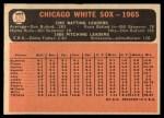 1966 Topps #426   White Sox Team Back Thumbnail