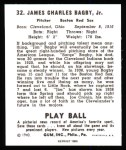 1940 Play Ball Reprint #32  Jim Bagby  Back Thumbnail