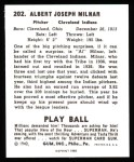 1940 Play Ball Reprint #202  Al Milnar  Back Thumbnail