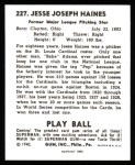 1940 Play Ball Reprint #227  Jesse Haines  Back Thumbnail