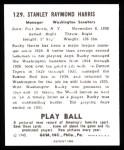1940 Play Ball Reprint #129  Bucky Harris  Back Thumbnail