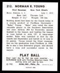 1940 Play Ball Reprint #212  Babe Young  Back Thumbnail
