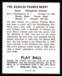 1940 Play Ball Reprint #190  Charles Berry  Back Thumbnail