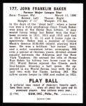1940 Play Ball Reprint #177  Home Run Baker  Back Thumbnail