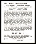 1940 Play Ball Reprint #131  Zeke Bonura  Back Thumbnail