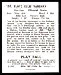 1940 Play Ball Reprint #107  Arky Vaughan  Back Thumbnail