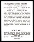 1940 Play Ball Reprint #188  Joe Krakaukas  Back Thumbnail