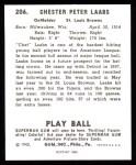 1940 Play Ball Reprint #206  Chet Laabs  Back Thumbnail