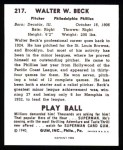 1940 Play Ball Reprint #217  Walter Beck  Back Thumbnail