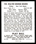 1940 Play Ball Reprint #154  Jumbo Brown  Back Thumbnail