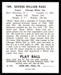 1940 Play Ball Reprint #184  Moose Haas  Back Thumbnail