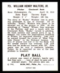 1940 Play Ball Reprint #73  Bucky Walters  Back Thumbnail