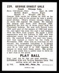 1940 Play Ball Reprint #239  George Uhle  Back Thumbnail