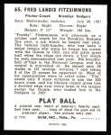 1940 Play Ball Reprint #65  Fred Fitzsimmons  Back Thumbnail