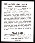 1940 Play Ball Reprint #193  Chubby Dean  Back Thumbnail