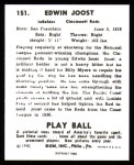 1940 Play Ball Reprint #151  Eddie Joost  Back Thumbnail