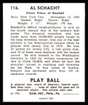 1940 Play Ball Reprint #116  Al Schacht  Back Thumbnail
