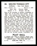 1940 Play Ball Reprint #88  Mel Ott  Back Thumbnail