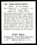 1940 Play Ball Reprint #109  Don Padgett  Back Thumbnail