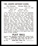 1940 Play Ball Reprint #185  Joe Kuhel  Back Thumbnail