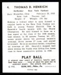 1940 Play Ball Reprint #4  Tommy Henrich  Back Thumbnail