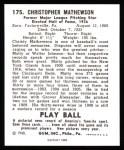 1940 Play Ball Reprint #175  Christy Mathewson  Back Thumbnail