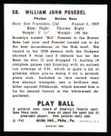 1940 Play Ball Reprint #58  Bill Posedel  Back Thumbnail