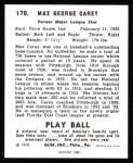 1940 Play Ball Reprint #178  Max Carey  Back Thumbnail